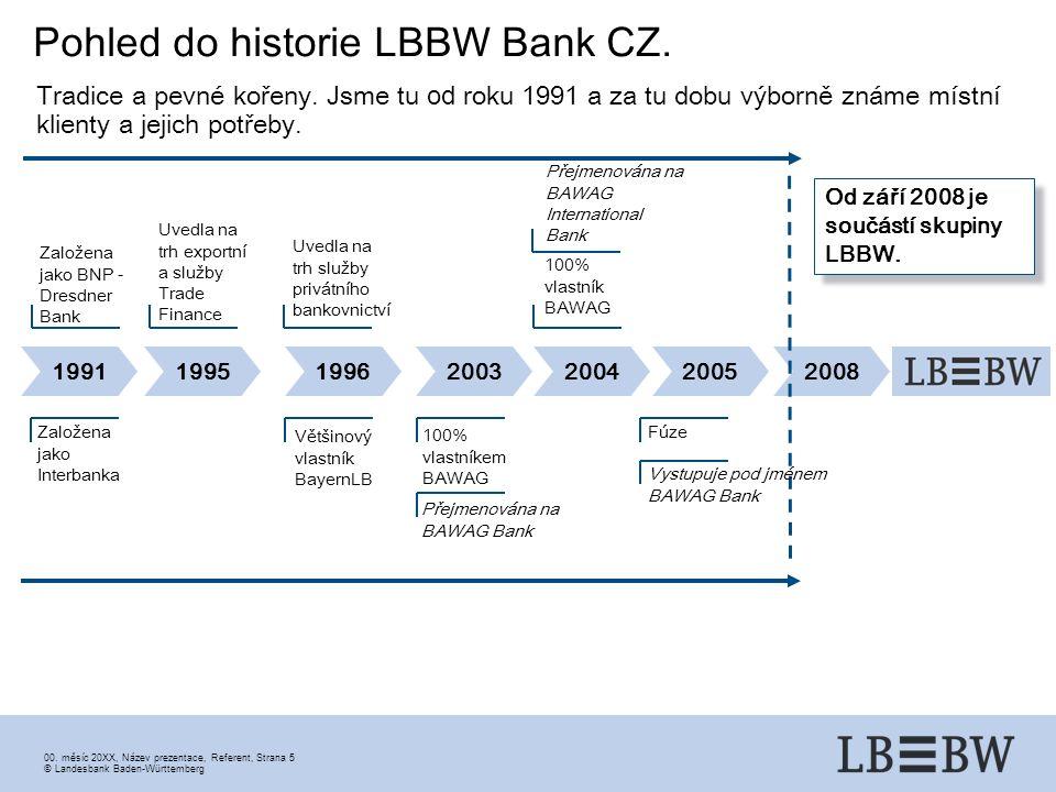00. měsíc 20XX, Název prezentace, Referent, Strana 5 ©Landesbank Baden-Württemberg Pohled do historie LBBW Bank CZ. 1991199519962003200420052008 Od zá