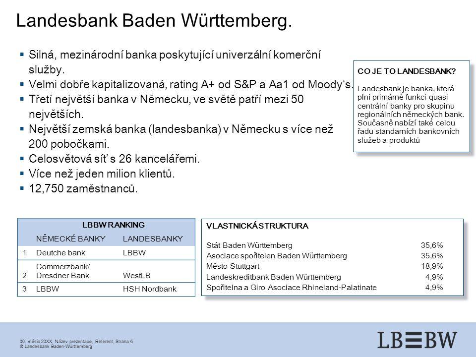 00. měsíc 20XX, Název prezentace, Referent, Strana 6 ©Landesbank Baden-Württemberg Landesbank Baden Württemberg. LBBW RANKING NĚMECKÉ BANKYLANDESBANKY