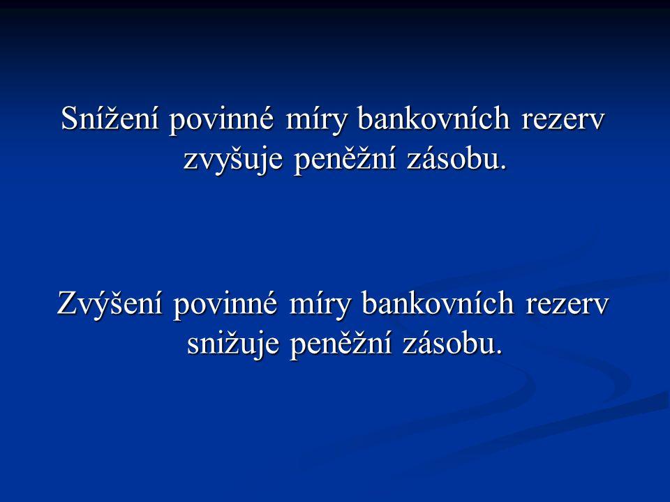 Snížení povinné míry bankovních rezerv zvyšuje peněžní zásobu. Zvýšení povinné míry bankovních rezerv snižuje peněžní zásobu.