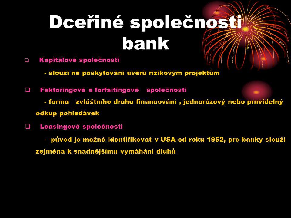 Dceřiné společnosti bank  Kapitálové společnosti - slouží na poskytování úvěrů rizikovým projektům  Faktoringové a forfaitingové společnosti - forma