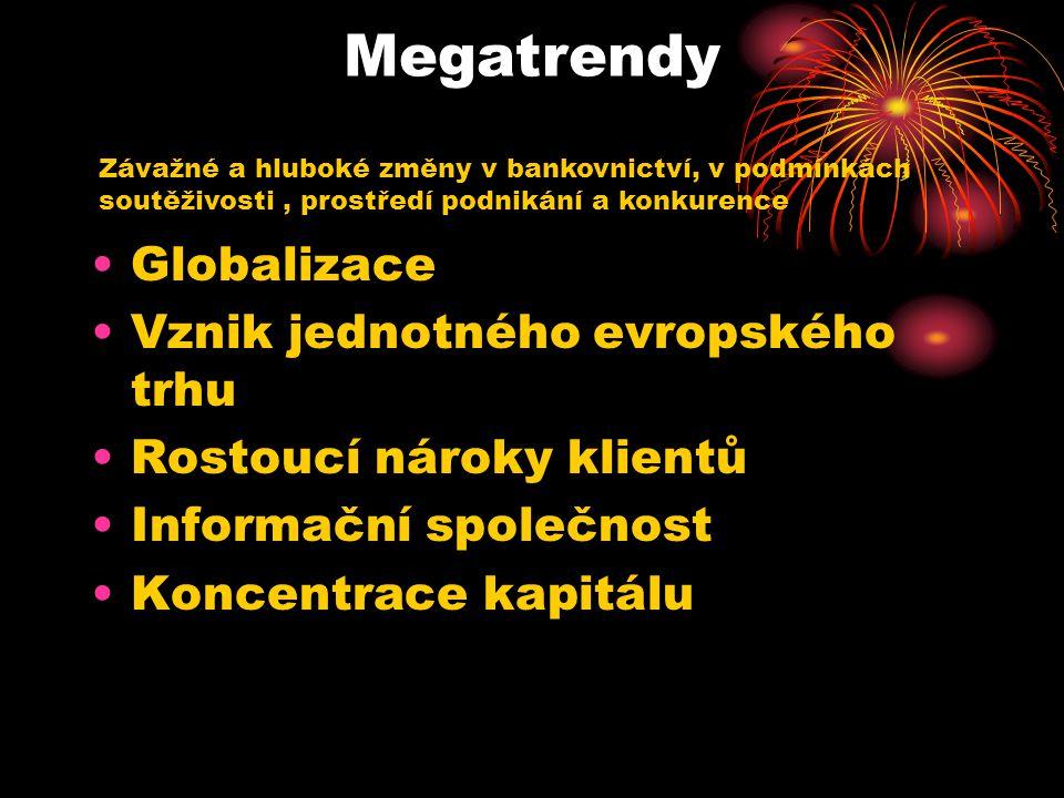 Megatrendy Globalizace Vznik jednotného evropského trhu Rostoucí nároky klientů Informační společnost Koncentrace kapitálu Závažné a hluboké změny v bankovnictví, v podmínkách soutěživosti, prostředí podnikání a konkurence