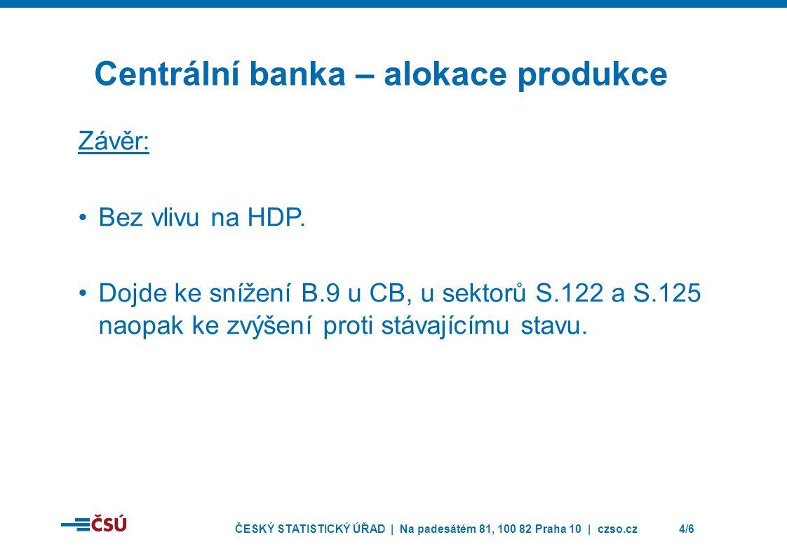 ČESKÝ STATISTICKÝ ÚŘAD | Na padesátém 81, 100 82 Praha 10 | czso.cz4/6 Centrální banka – alokace produkce Závěr: Bez vlivu na HDP.