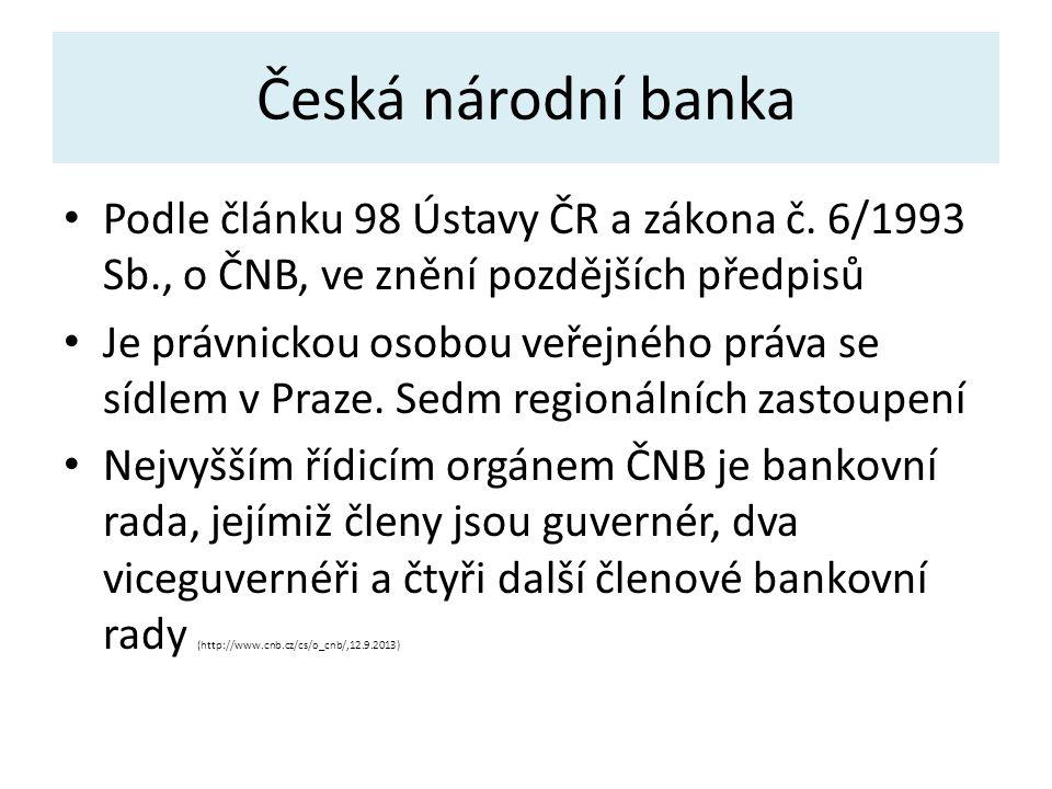 Česká národní banka Podle článku 98 Ústavy ČR a zákona č.