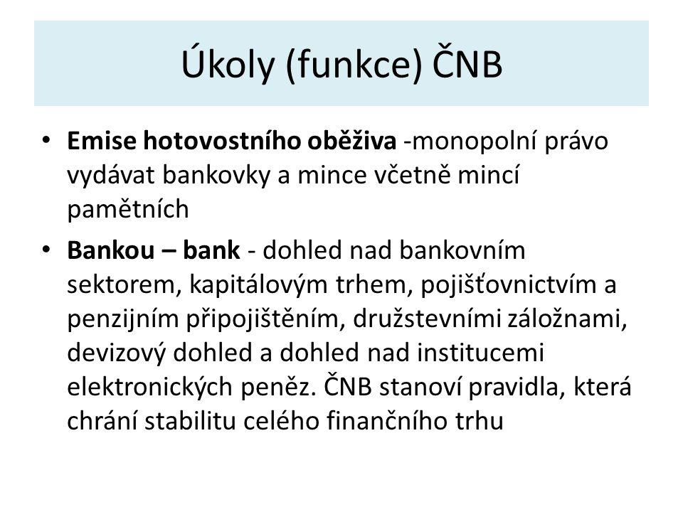 Úkoly (funkce) ČNB Emise hotovostního oběživa -monopolní právo vydávat bankovky a mince včetně mincí pamětních Bankou – bank - dohled nad bankovním sektorem, kapitálovým trhem, pojišťovnictvím a penzijním připojištěním, družstevními záložnami, devizový dohled a dohled nad institucemi elektronických peněz.