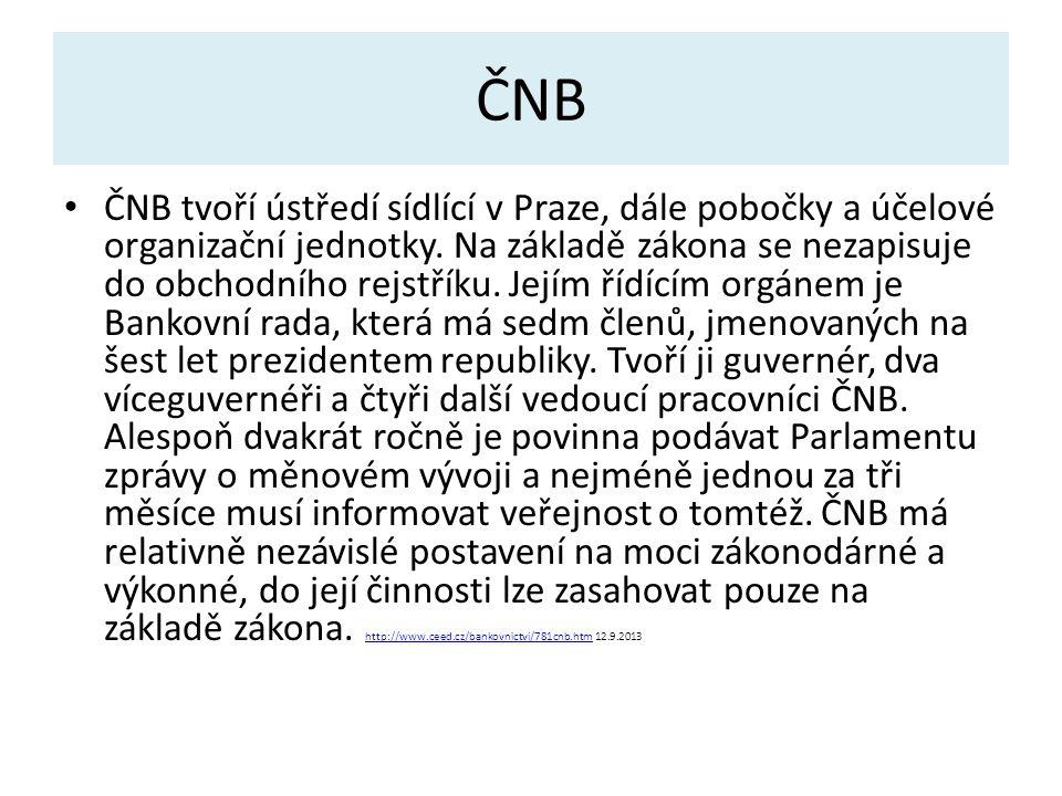 ČNB ČNB tvoří ústředí sídlící v Praze, dále pobočky a účelové organizační jednotky.