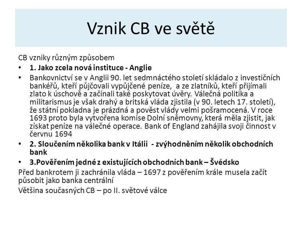 Vznik CB ve světě CB vzniky různým způsobem 1.