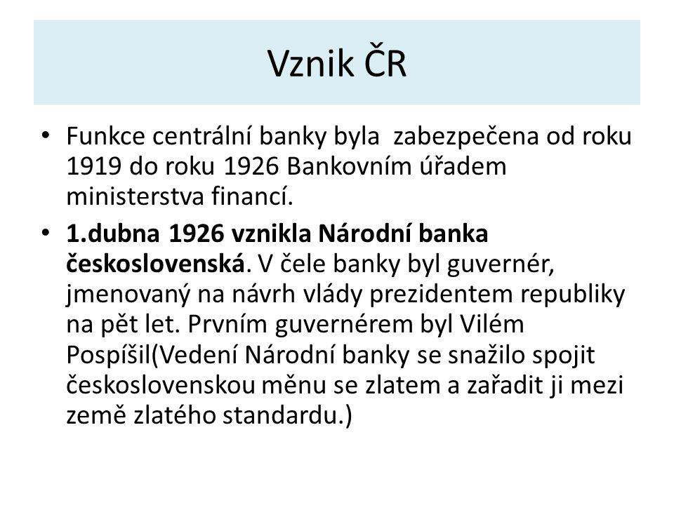 Vznik ČR Funkce centrální banky byla zabezpečena od roku 1919 do roku 1926 Bankovním úřadem ministerstva financí.