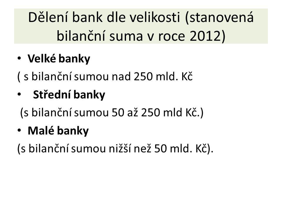 Dělení bank dle velikosti (stanovená bilanční suma v roce 2012) Velké banky ( s bilanční sumou nad 250 mld.