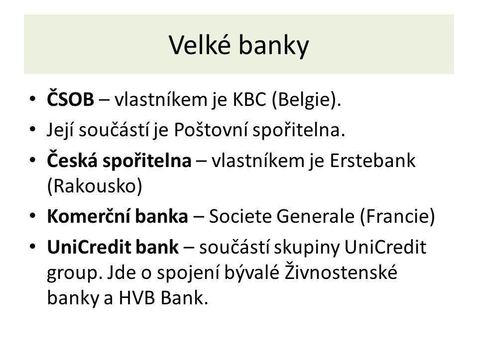 Velké banky ČSOB – vlastníkem je KBC (Belgie). Její součástí je Poštovní spořitelna.