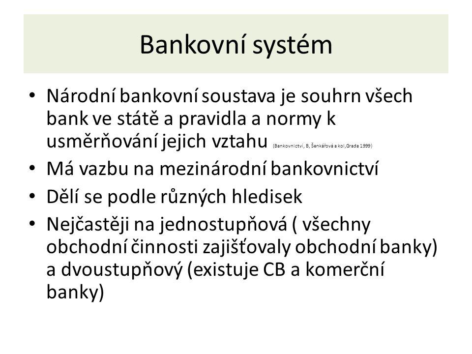 Bankovní systém Národní bankovní soustava je souhrn všech bank ve státě a pravidla a normy k usměrňování jejich vztahu (Bankovnictví, B, Šenkářová a kol,Grada 1999) Má vazbu na mezinárodní bankovnictví Dělí se podle různých hledisek Nejčastěji na jednostupňová ( všechny obchodní činnosti zajišťovaly obchodní banky) a dvoustupňový (existuje CB a komerční banky)