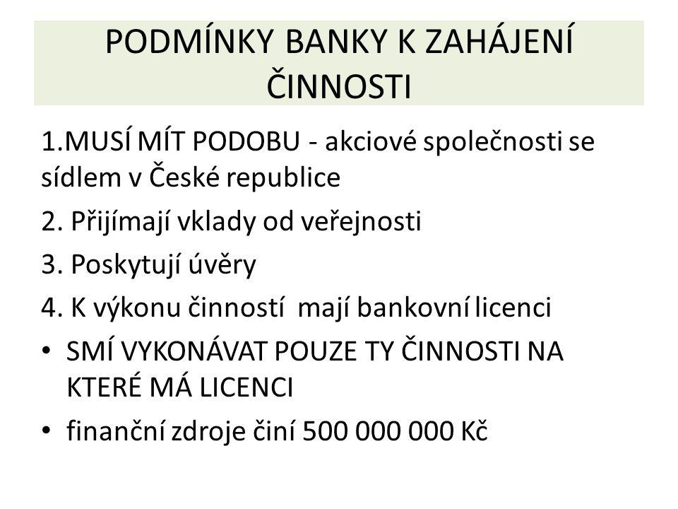PODMÍNKY BANKY K ZAHÁJENÍ ČINNOSTI 1.MUSÍ MÍT PODOBU - akciové společnosti se sídlem v České republice 2.
