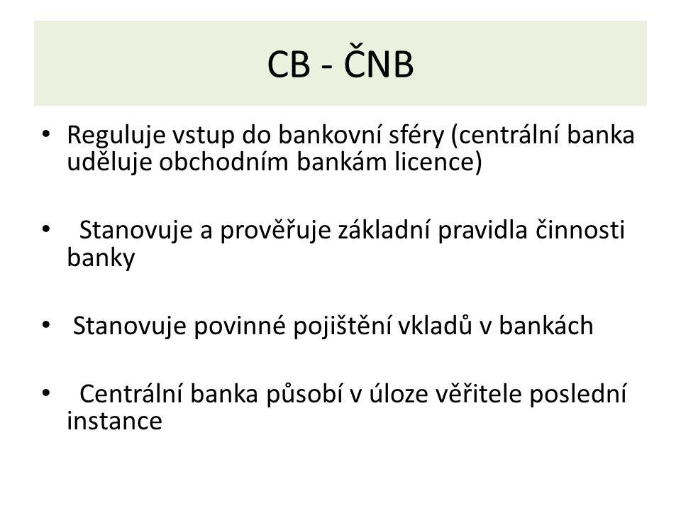 CB - ČNB Reguluje vstup do bankovní sféry (centrální banka uděluje obchodním bankám licence) Stanovuje a prověřuje základní pravidla činnosti banky Stanovuje povinné pojištění vkladů v bankách Centrální banka působí v úloze věřitele poslední instance
