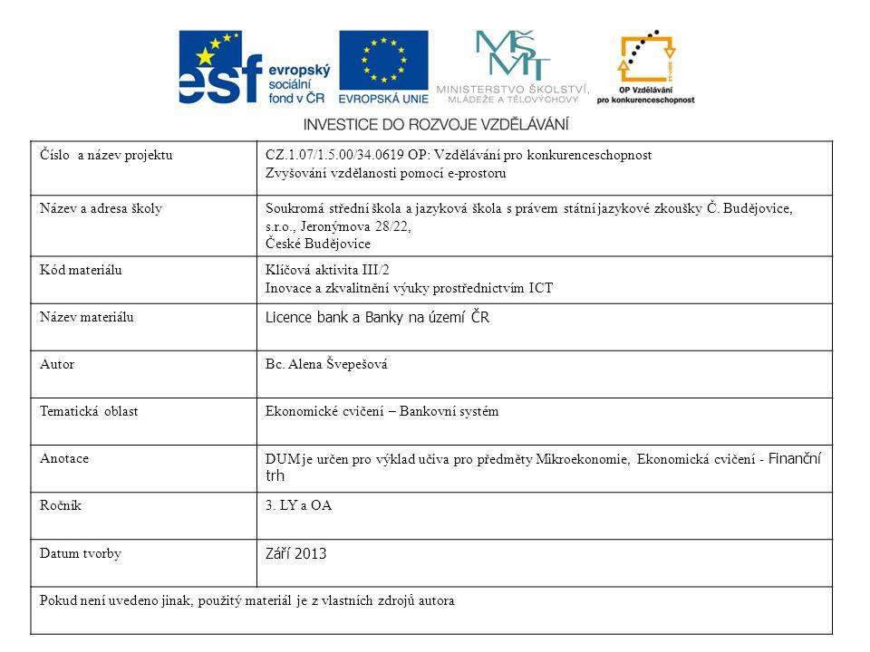 Licence bank Banky na území ČR Bc. Alena Švepešová