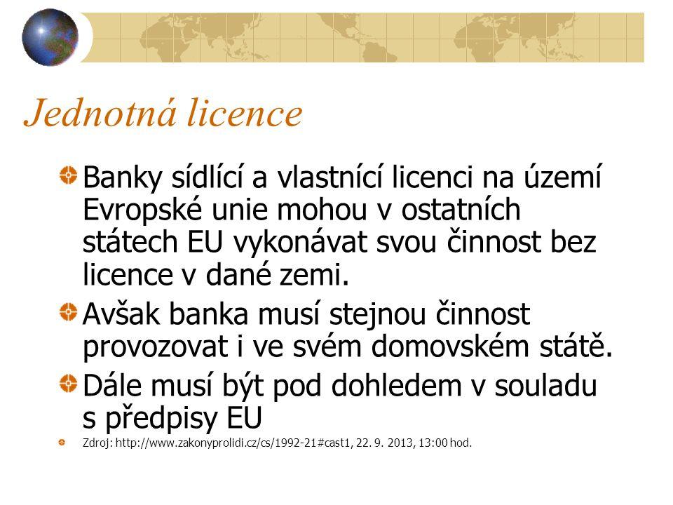 Jednotná licence Banky sídlící a vlastnící licenci na území Evropské unie mohou v ostatních státech EU vykonávat svou činnost bez licence v dané zemi.