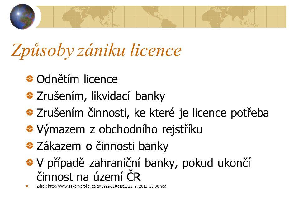 Způsoby zániku licence Odnětím licence Zrušením, likvidací banky Zrušením činnosti, ke které je licence potřeba Výmazem z obchodního rejstříku Zákazem