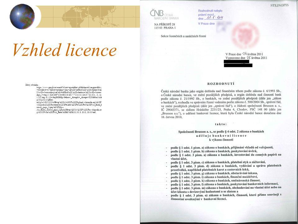 Vzhled licence Zdroj obrázku: https://www.google.cz/search?client=opera&hs=yd6&channel=suggest&biw =984&bih=417&tbm=isch&sa=1&q=ud%C4%9Blen%C3%AD+bank