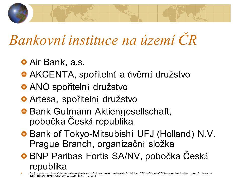 Bankovní instituce na území ČR Air Bank, a.s. AKCENTA, spořitelní a úvěrní družstvo ANO spořitelní družstvo Artesa, spořitelní družstvo Bank Gutmann A