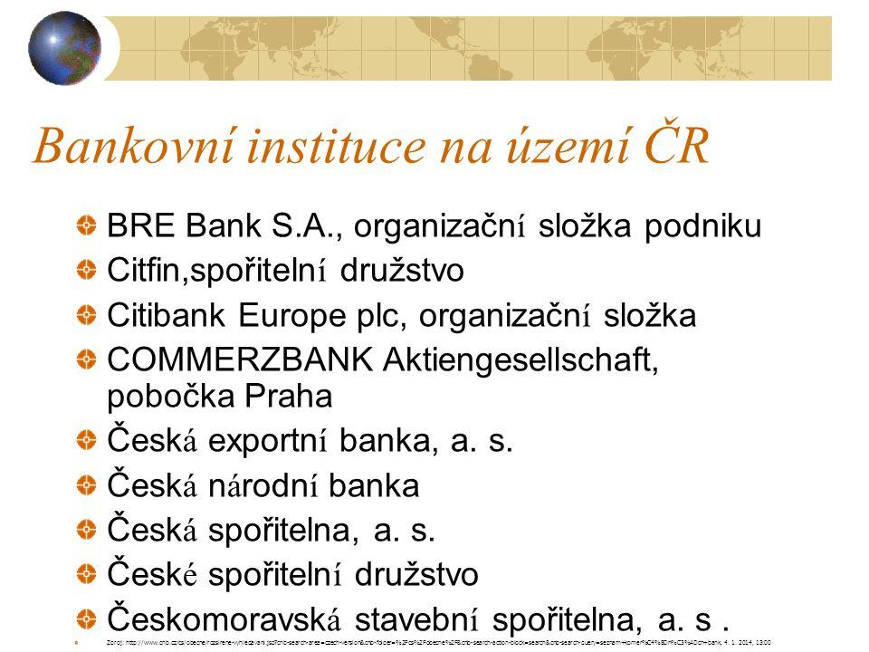 Bankovní instituce na území ČR BRE Bank S.A., organizační složka podniku Citfin,spořitelní družstvo Citibank Europe plc, organizační složka COMMERZBAN