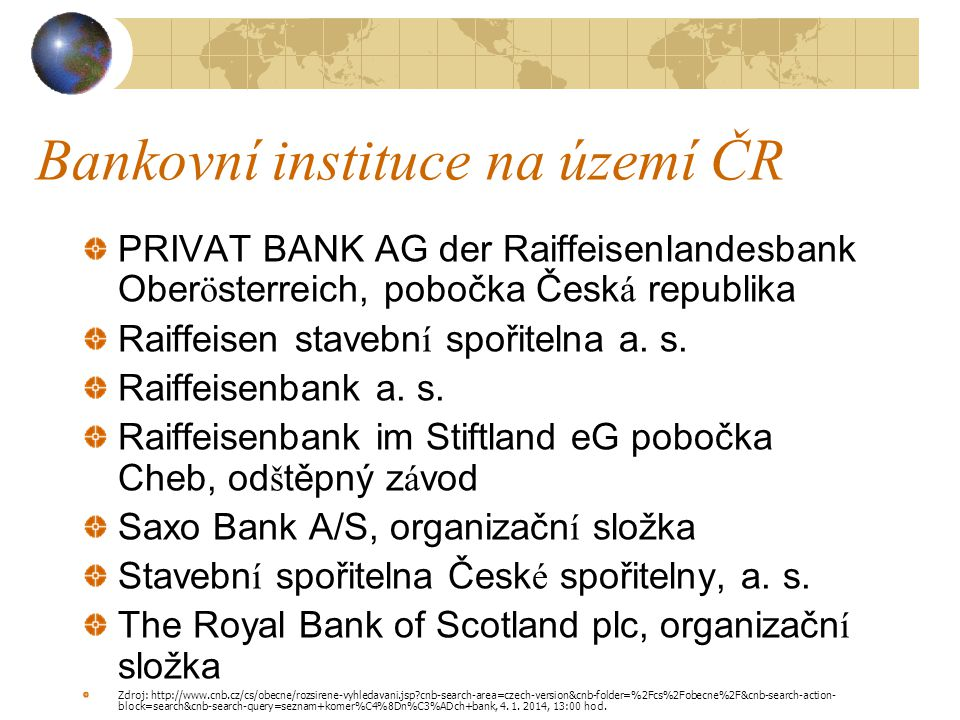 Bankovní instituce na území ČR PRIVAT BANK AG der Raiffeisenlandesbank Oberösterreich, pobočka Česká republika Raiffeisen stavební spořitelna a. s. Ra