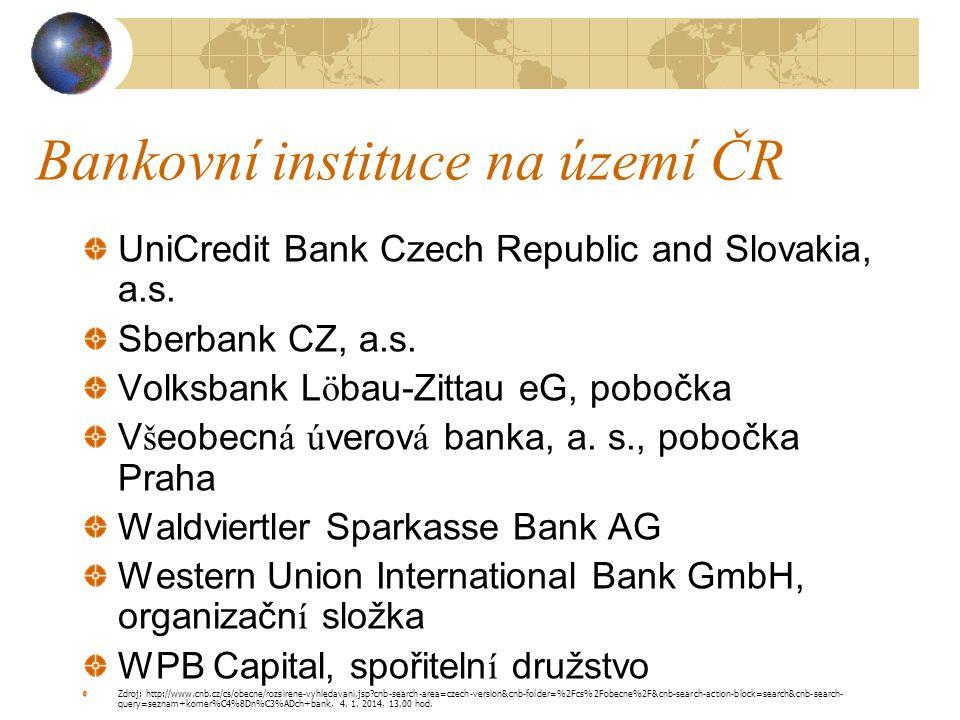 Bankovní instituce na území ČR UniCredit Bank Czech Republic and Slovakia, a.s. Sberbank CZ, a.s. Volksbank Löbau-Zittau eG, pobočka Všeobecná úverová