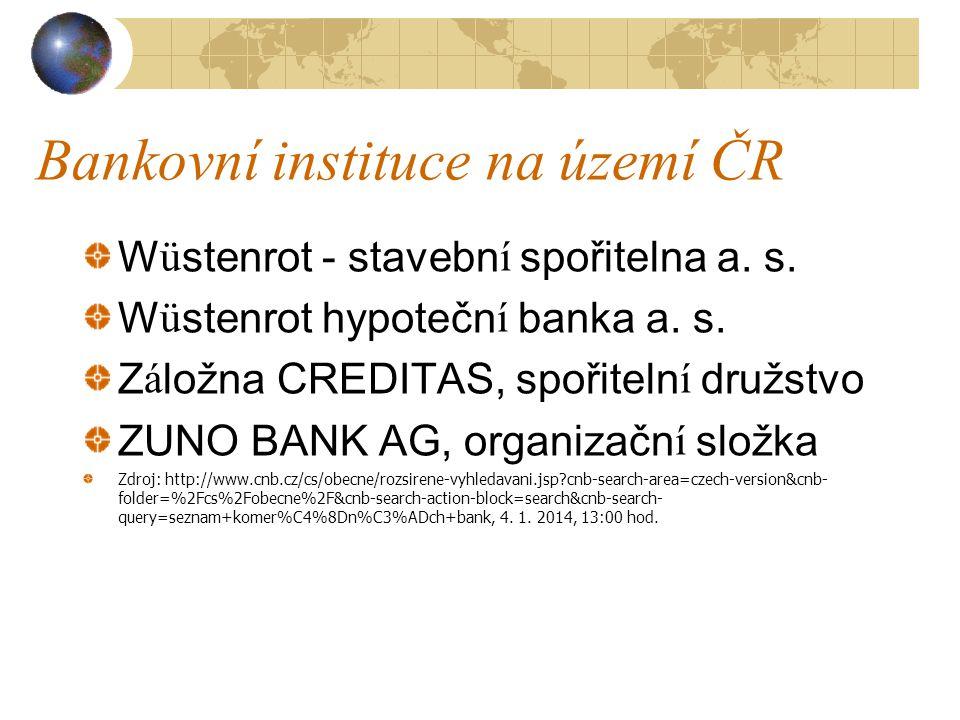 Bankovní instituce na území ČR Wüstenrot - stavební spořitelna a. s. Wüstenrot hypoteční banka a. s. Záložna CREDITAS, spořitelní družstvo ZUNO BANK A