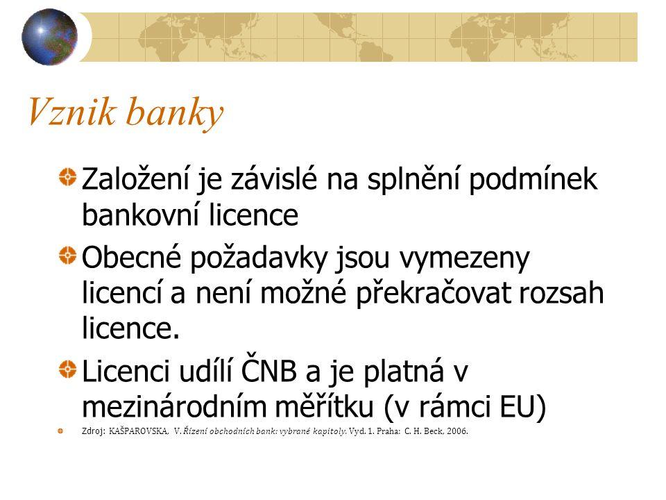 Vznik banky Založení je závislé na splnění podmínek bankovní licence Obecné požadavky jsou vymezeny licencí a není možné překračovat rozsah licence. L