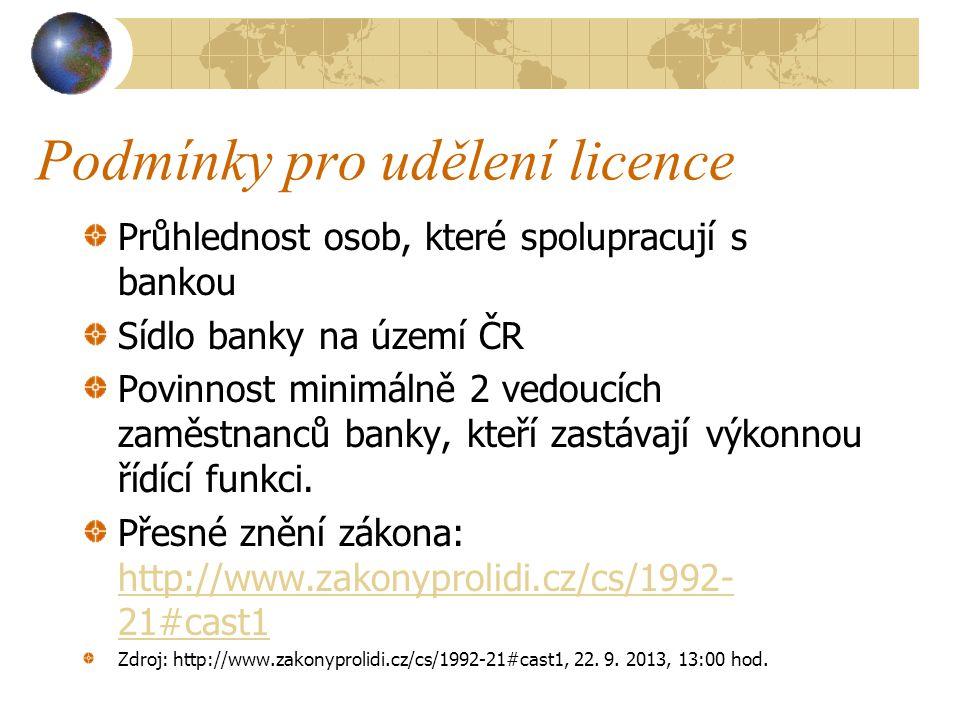 Podmínky pro udělení licence Průhlednost osob, které spolupracují s bankou Sídlo banky na území ČR Povinnost minimálně 2 vedoucích zaměstnanců banky,