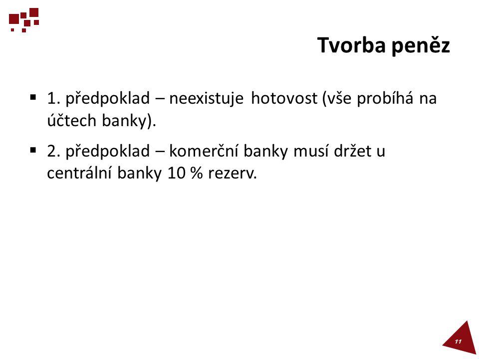 Tvorba peněz  1. předpoklad – neexistuje hotovost (vše probíhá na účtech banky).  2. předpoklad – komerční banky musí držet u centrální banky 10 % r
