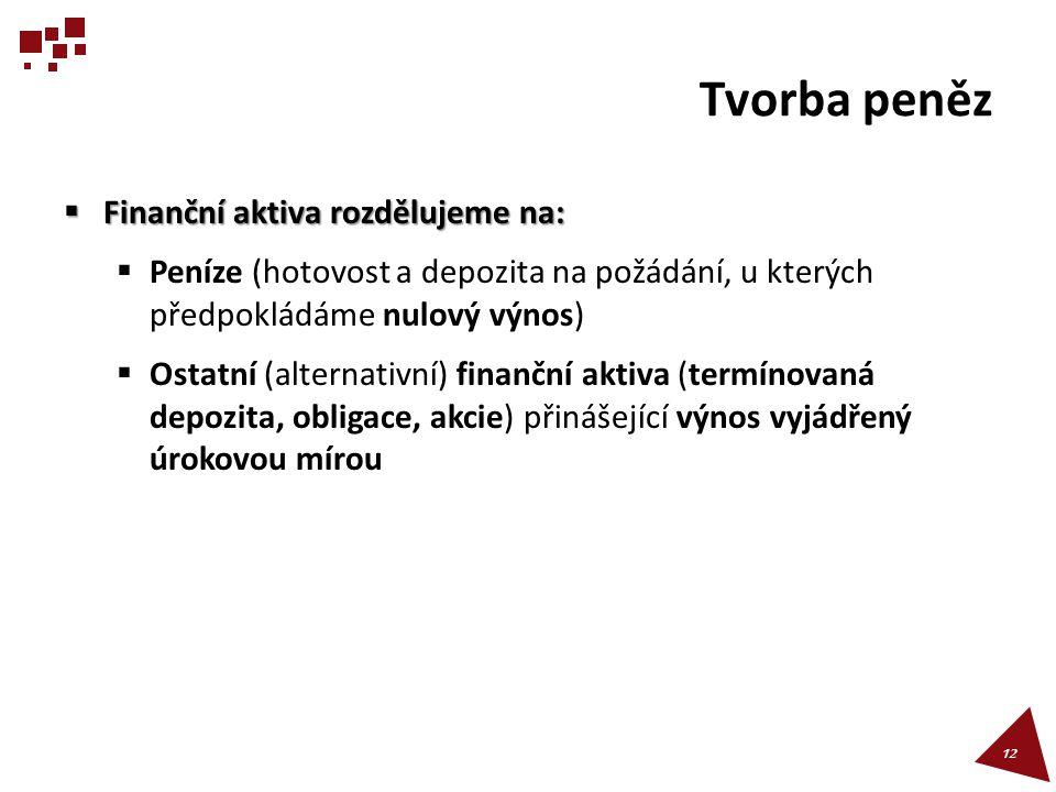 Tvorba peněz  Finanční aktiva rozdělujeme na:  Peníze (hotovost a depozita na požádání, u kterých předpokládáme nulový výnos)  Ostatní (alternativn