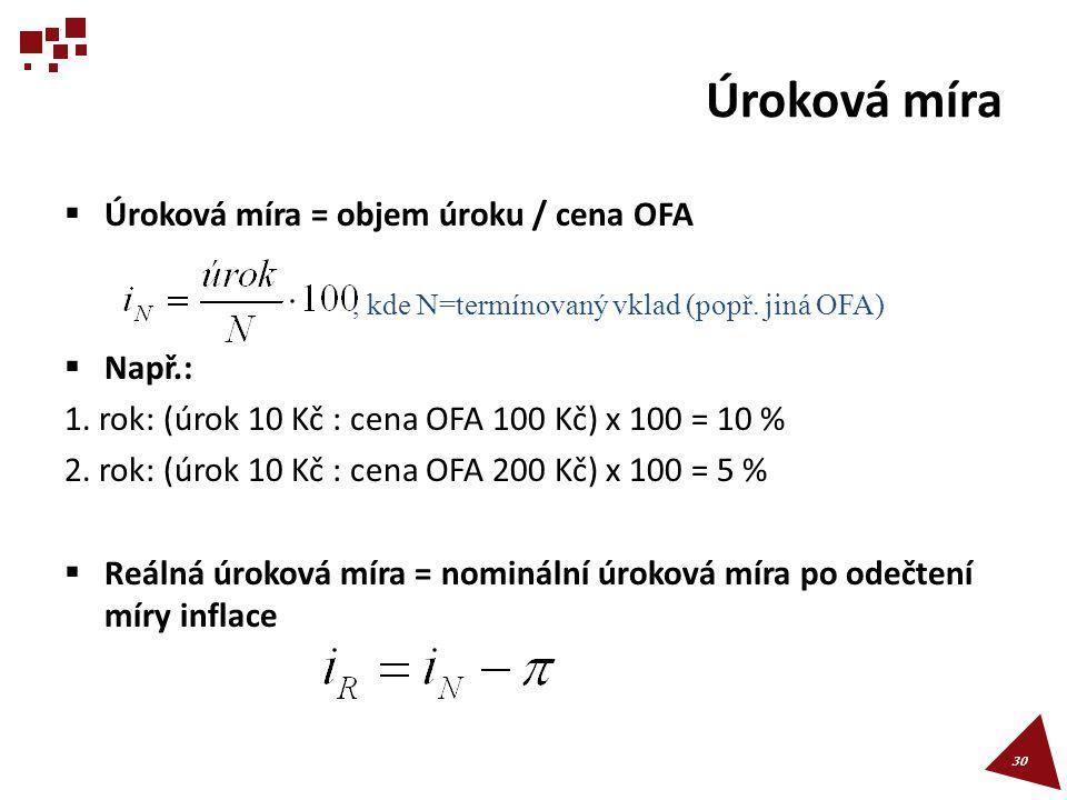 Úroková míra  Úroková míra = objem úroku / cena OFA  Např.: 1. rok: (úrok 10 Kč : cena OFA 100 Kč) x 100 = 10 % 2. rok: (úrok 10 Kč : cena OFA 200 K