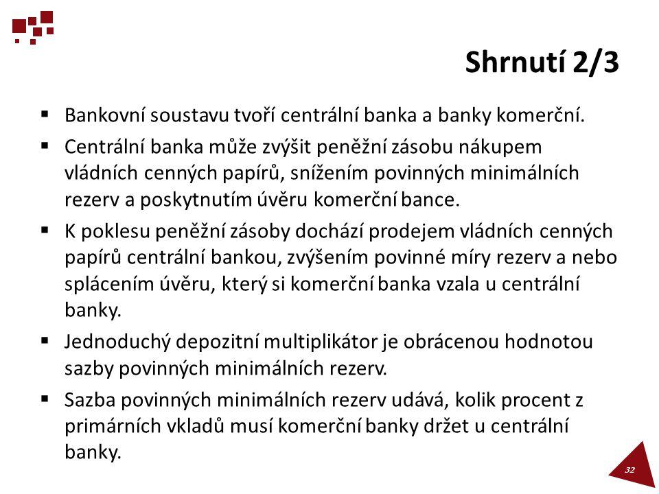 Shrnutí 2/3  Bankovní soustavu tvoří centrální banka a banky komerční.  Centrální banka může zvýšit peněžní zásobu nákupem vládních cenných papírů,