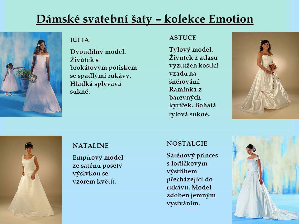 Dámské svatební šaty – kolekce Emotion JULIA Dvoudílný model. Živůtek s brokátovým potiskem se spadlými rukávy. Hladká splývavá sukně. NATALINE Empíro