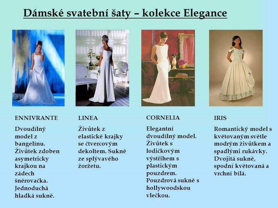 Dámské svatební šaty – kolekce Elegance ENNIVRANTE Dvoudílný model z bangelínu. Živůtek zdoben asymetricky krajkou na zádech šněrovačka. Jednoduchá hl