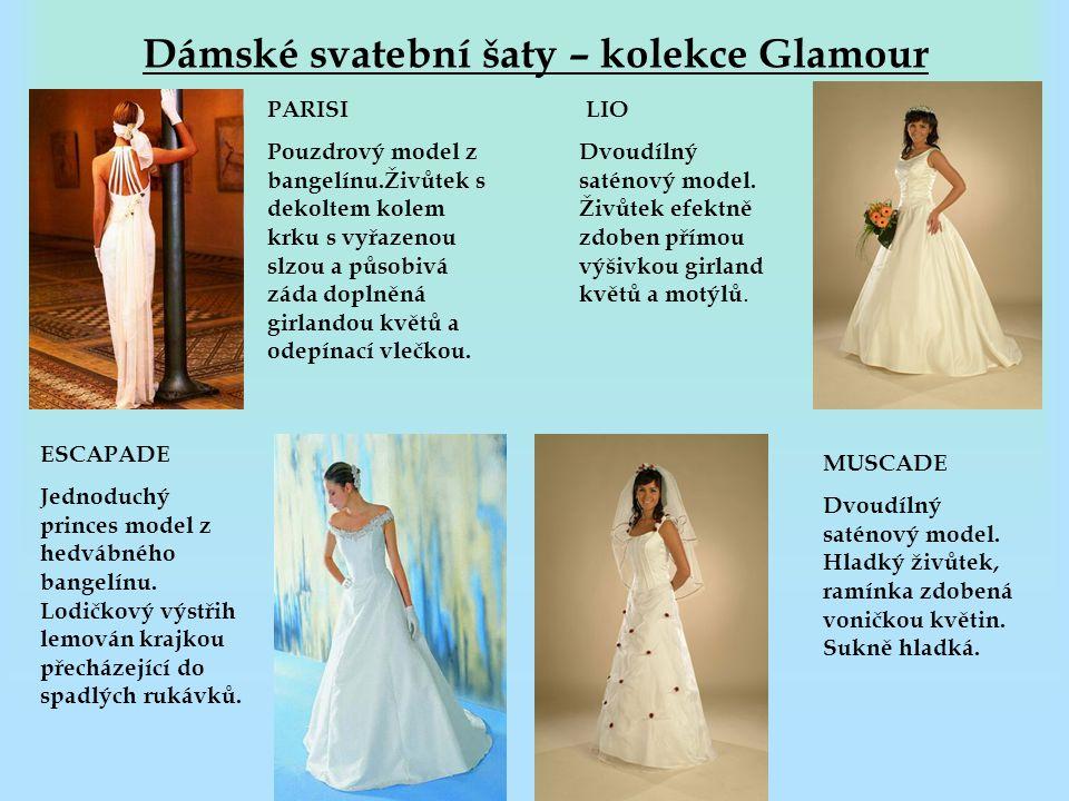 Dámské svatební šaty – kolekce Glamour PARISI Pouzdrový model z bangelínu.Živůtek s dekoltem kolem krku s vyřazenou slzou a působivá záda doplněná gir