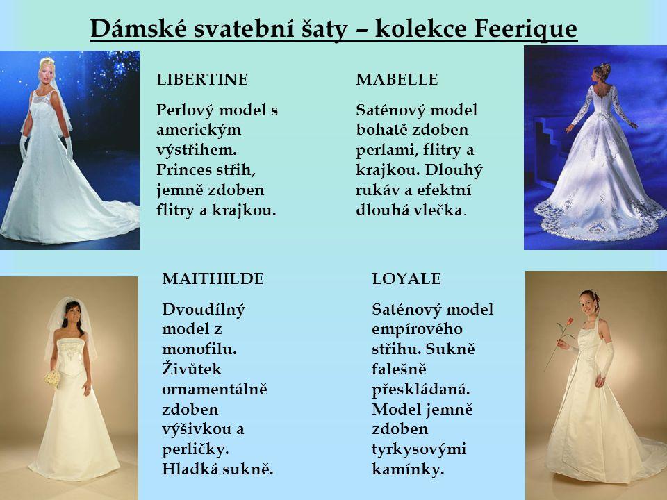 Dámské svatební šaty – kolekce Feerique LIBERTINE Perlový model s americkým výstřihem. Princes střih, jemně zdoben flitry a krajkou. MAITHILDE Dvoudíl