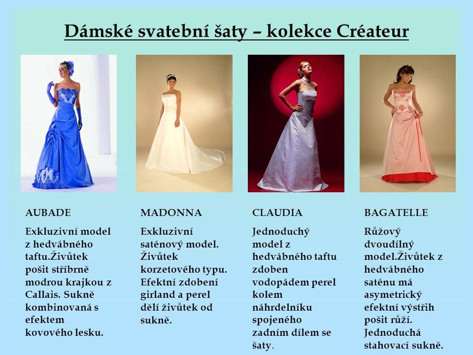 Dámské svatební šaty – kolekce Créateur AUBADE Exkluzivní model z hedvábného taftu.Živůtek pošit stříbrně modrou krajkou z Callais. Sukně kombinovaná