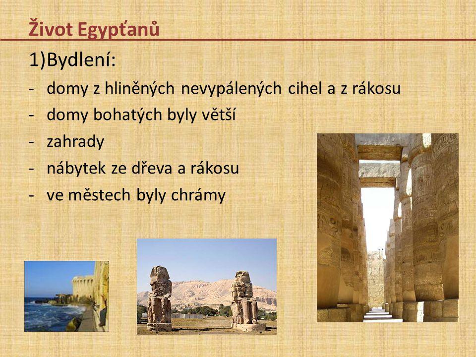 Život Egypťanů 1)Bydlení: -domy z hliněných nevypálených cihel a z rákosu -domy bohatých byly větší -zahrady -nábytek ze dřeva a rákosu -ve městech by