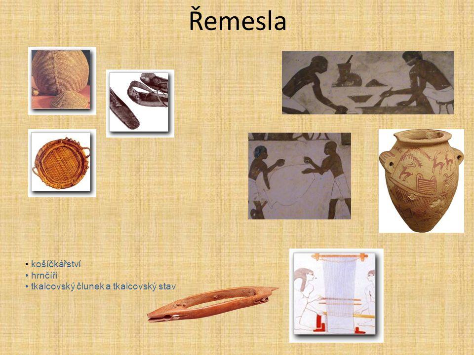 Řemesla košíčkářství hrnčíři tkalcovský člunek a tkalcovský stav
