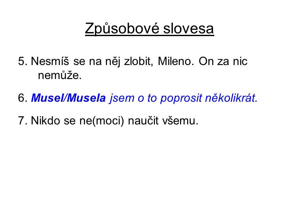 Způsobové slovesa 5.Nesmíš se na něj zlobit, Mileno.