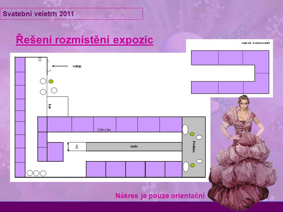 Řešení rozmístění expozic Svatební veletrh 2011 Nákres je pouze orientační