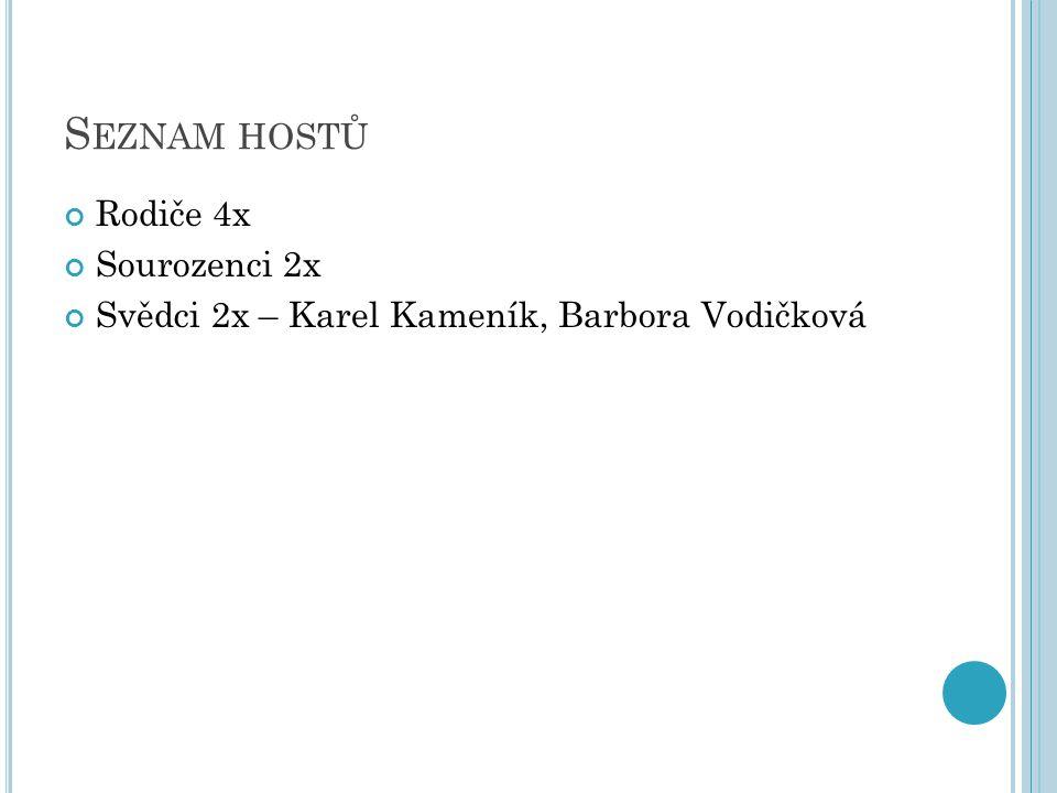 S EZNAM HOSTŮ Rodiče 4x Sourozenci 2x Svědci 2x – Karel Kameník, Barbora Vodičková