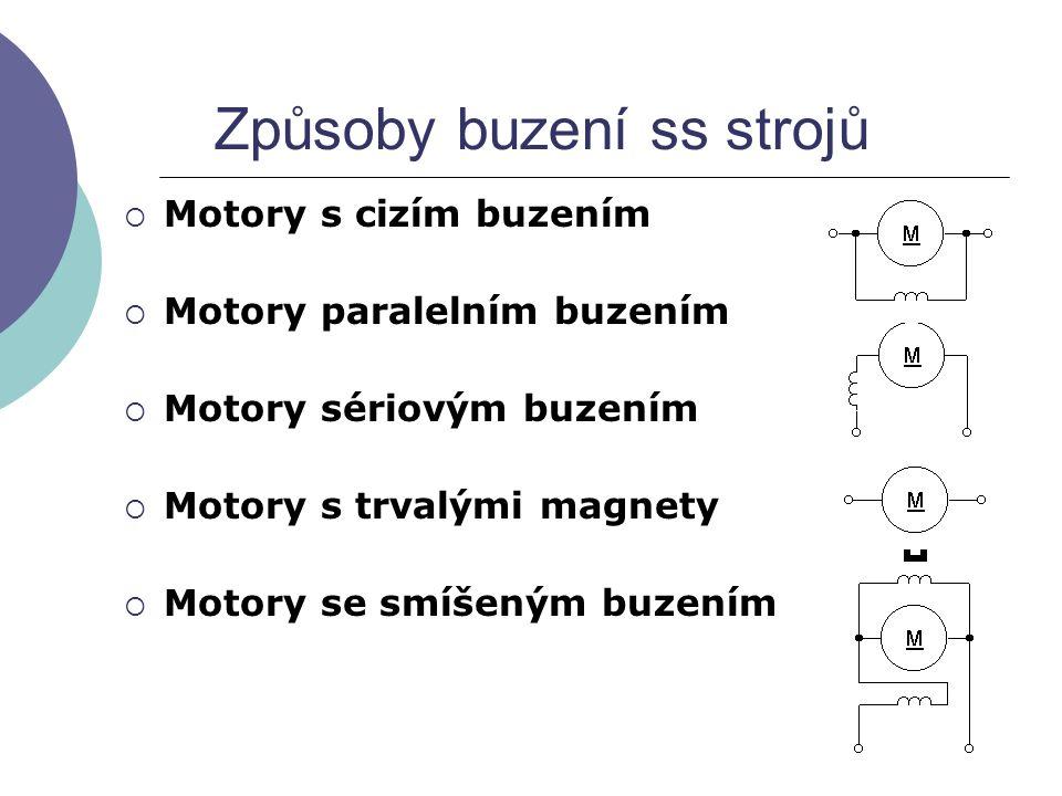 Způsoby buzení ss strojů  Motory s cizím buzením  Motory paralelním buzením  Motory sériovým buzením  Motory s trvalými magnety  Motory se smíšen