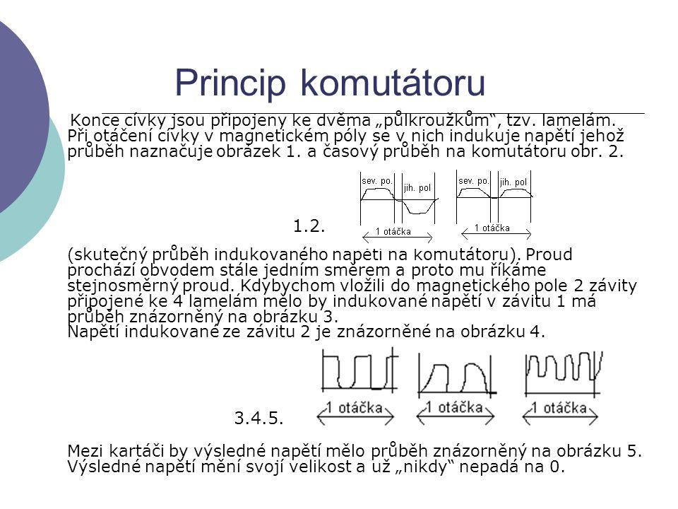 """Princip komutátoru Konce cívky jsou připojeny ke dvěma """"půlkroužkům"""", tzv. lamelám. Při otáčení cívky v magnetickém póly se v nich indukuje napětí jeh"""