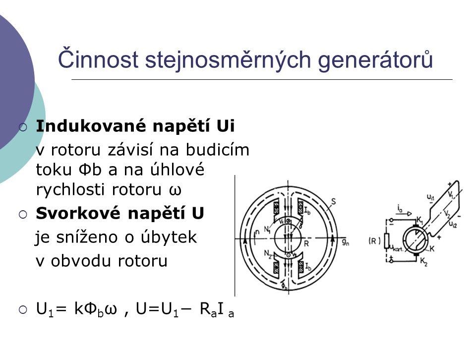 Činnost stejnosměrných generátorů  Indukované napětí Ui v rotoru závisí na budicím toku Φb a na úhlové rychlosti rotoru ω  Svorkové napětí U je sníž