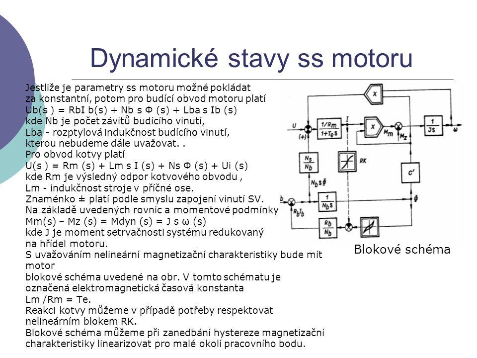 Dynamické stavy ss motoru Jestliže je parametry ss motoru možné pokládat za konstantní, potom pro budící obvod motoru platí Ub(s ) = RbI b(s) + Nb s Φ