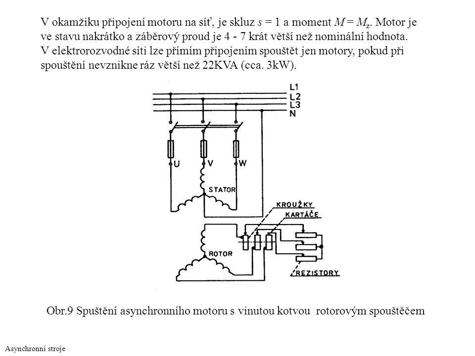 Asynchronní stroje V okamžiku připojení motoru na síť, je skluz s = 1 a moment M = M z. Motor je ve stavu nakrátko a záběrový proud je 4 - 7 krát větš