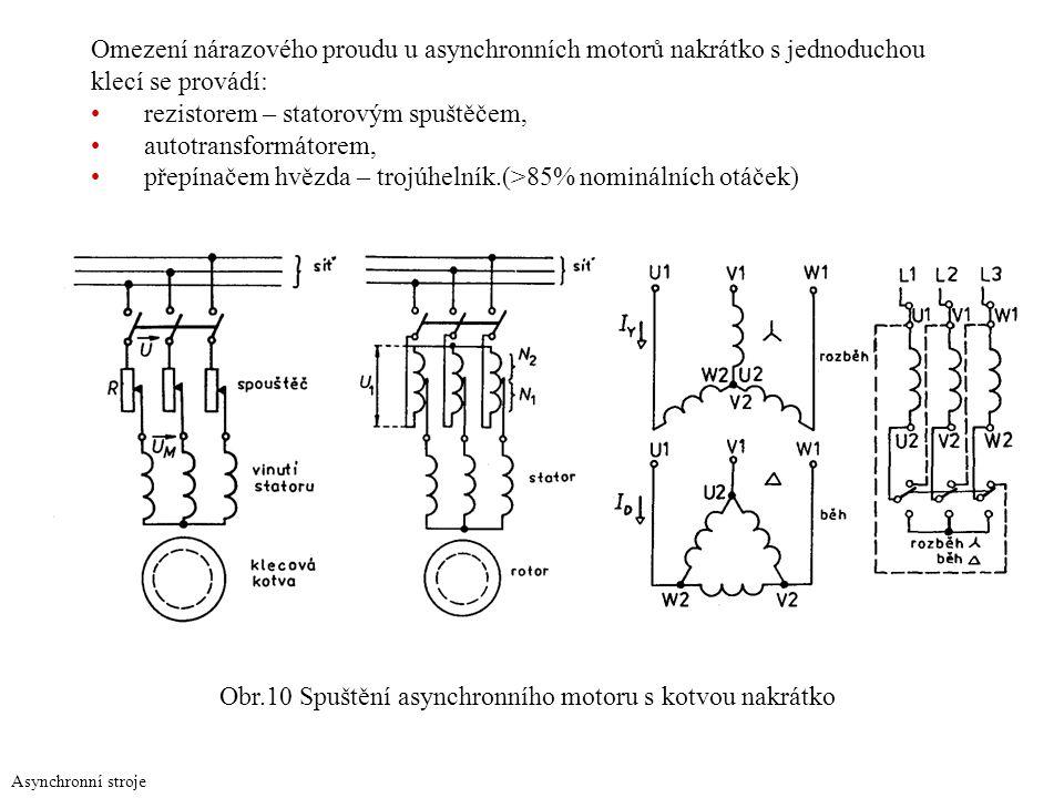 Asynchronní stroje Omezení nárazového proudu u asynchronních motorů nakrátko s jednoduchou klecí se provádí: rezistorem – statorovým spuštěčem, autotr