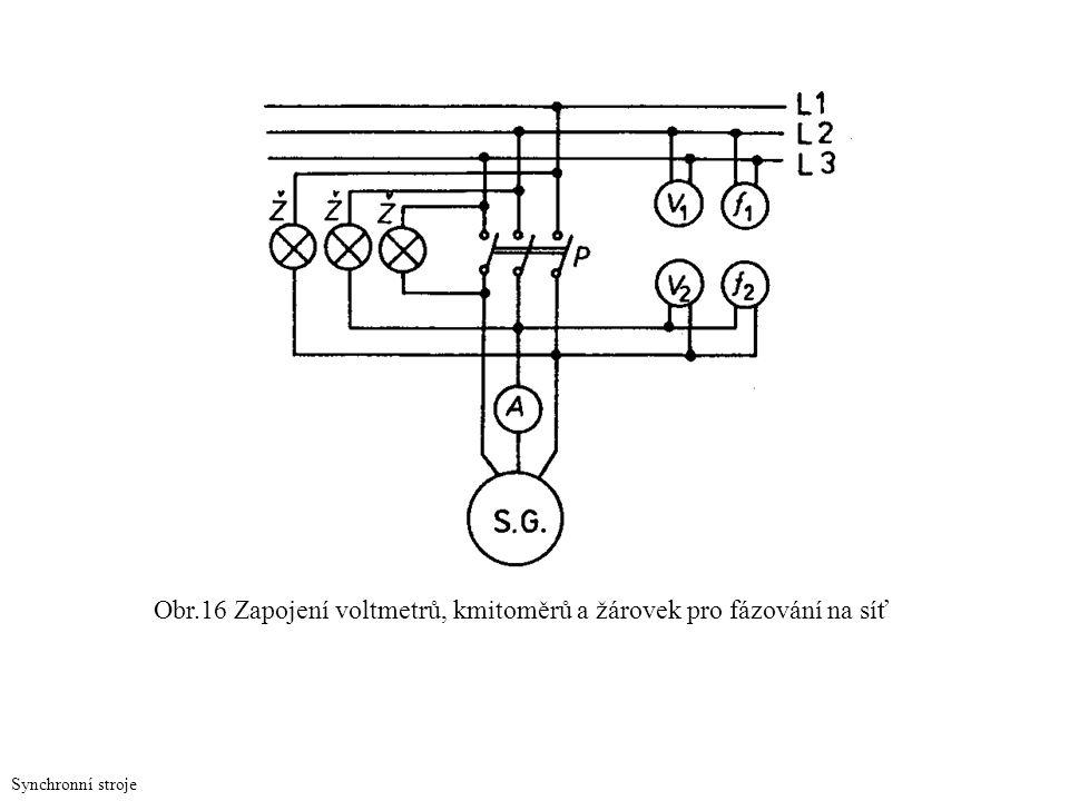 Obr.16 Zapojení voltmetrů, kmitoměrů a žárovek pro fázování na síť Synchronní stroje