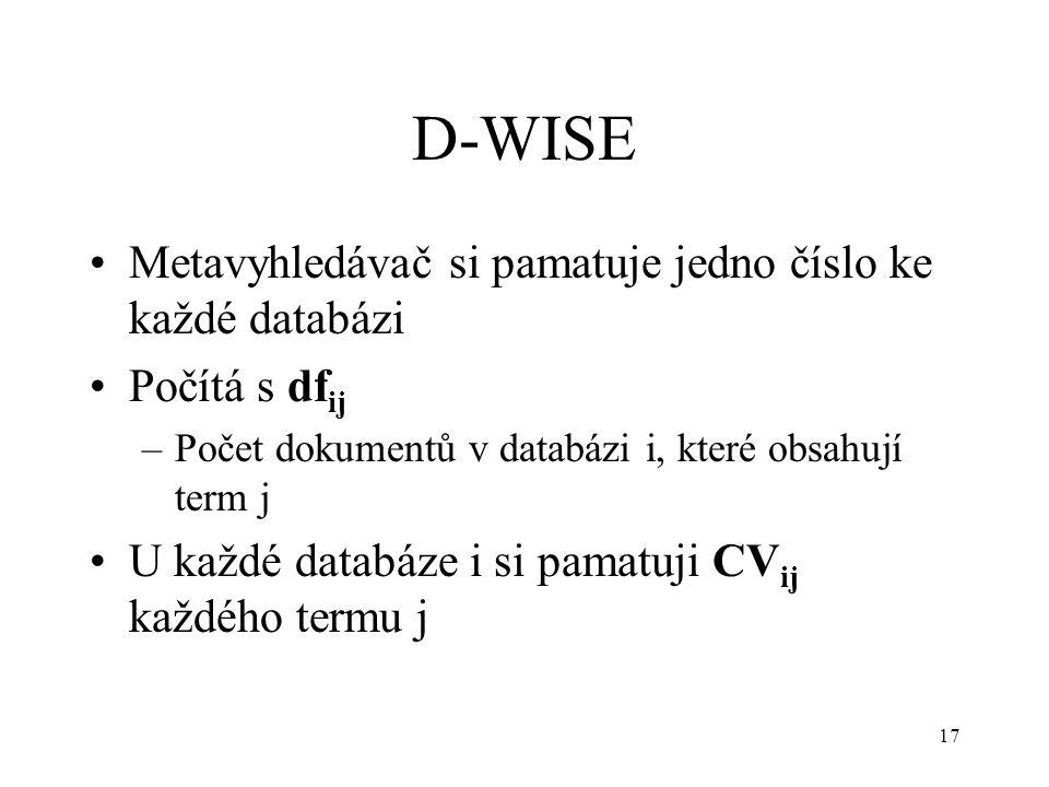 17 D-WISE Metavyhledávač si pamatuje jedno číslo ke každé databázi Počítá s df ij –Počet dokumentů v databázi i, které obsahují term j U každé databáze i si pamatuji CV ij každého termu j