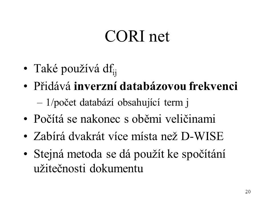 20 CORI net Také používá df ij Přidává inverzní databázovou frekvenci –1/počet databází obsahující term j Počítá se nakonec s oběmi veličinami Zabírá